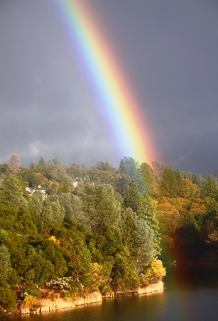 Rainbow over Pine Mountain Lake - photo by Dick Davis
