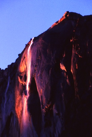 Horsetail Falls in Yosemite at dusk - photo by Dick Davis