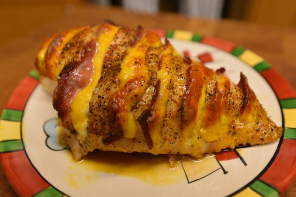 Turkey Bacon and Cheddar Hasselback Chicken
